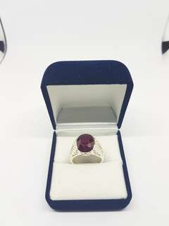 Red Ruby with White Topaz Ring