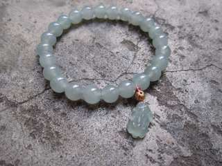 天然緬甸玉翡翠冰藍貔貅手珠