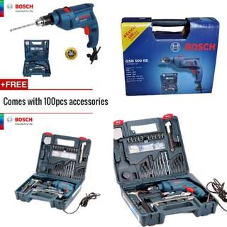 [PROMOTION] Bosch Drill Tool Set (6 Months manufacturer warranty) (+ Extra 100 pcs accessories )