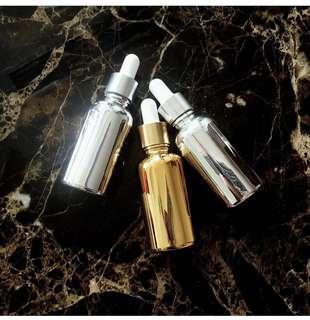 Gold | Chrome Dropper Glass Bottle