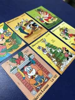 只限兩套 1992 塞拉利昂 迪士尼郵票 唐老鴨 米奇過聖誕 6全