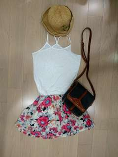 🚚 粉色花朵雪紡褲裙