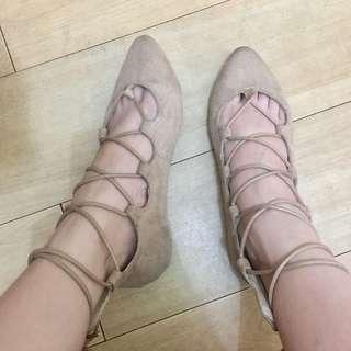 Beige Lace Sandals