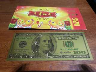 Gold plated US$100 dollar note