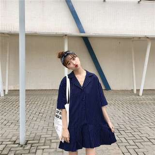 #499 Stripe V Neck Korean Style Dress (PO)