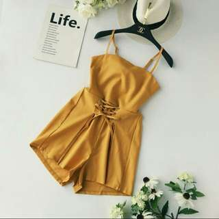 2018 summer Korea high waist backless bow tie rompers