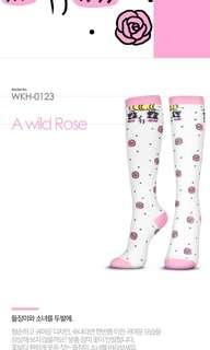 Korea Wonder Socks  - Knee High Socks - Pink Roses