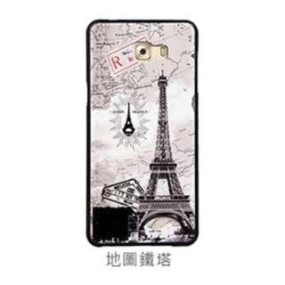🚚 三星 E7 手機殼 十字紋 貼皮 卡通 保護套 軟殼 防摔 E7000 外殼 矽膠套(巴黎鐵塔)