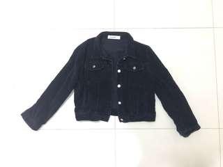 Corduroy Dark Blue Short Jacket