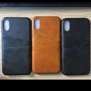 INSTOCK Brown Black Navy Leather iPhone Case Card Slots