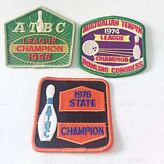 3 Patches AUSTRALIAN TENPIN BOWLING CONGRESS League State Champion '66 '74 '76