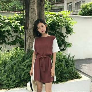 2018 Korea ulzzang short sleeve dress