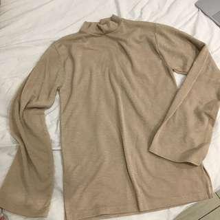 🚚 韓版透膚杏色寬袖上衣