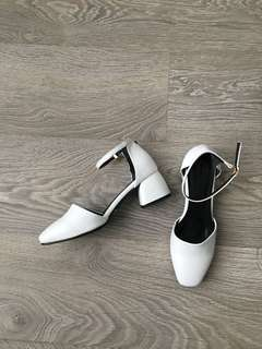 White Low Block Heel Sandals