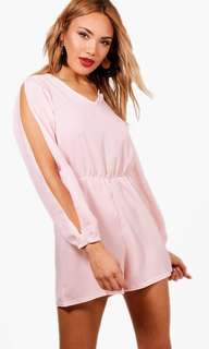 Pink split sleeve playsuit (boohoo)