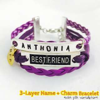 Layer Bestfriend Charm Name Bracelet for Groups/Individual
