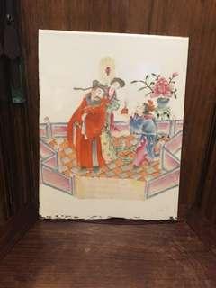清粉彩手繪人物瓷片(有裁過)