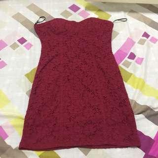 Maroon Bustier Dress