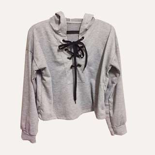 Lace-Up Grey Hoodie
