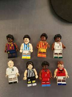 Vintage Lego World Cup series footballers. 8 Famous Lego Mini Figure Soccer Football Player Messi Neymar Ronaldo Rooney Lot