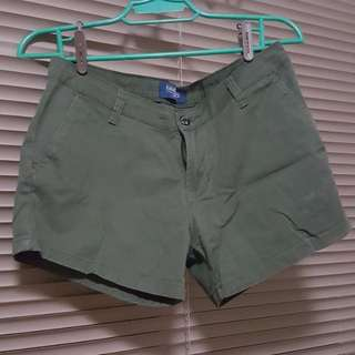 Folded and Hung Olive Green Shorts