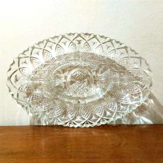 Vintage Cut Glass Serving Tray