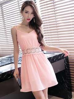 Casual: Pink Sexy Lace Floral Backless Chiffon Dress (S / M / L / XL) - OA/MKD022733