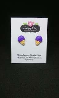 Ube ice cream earrings