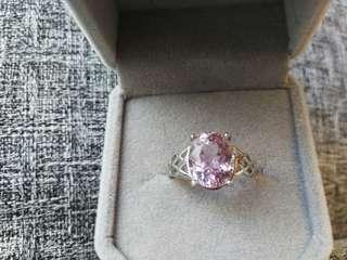 👑純天然紫鋰輝寶石純銀鍍18K白金戒指🌠主石大粒9x11mm精工閃耀切割 晶體通透全淨體 顏色超美 活囗圈
