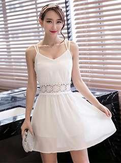 Casual: White Sexy Lace Floral Backless Chiffon Dress (S / M / L / XL) - OA/MKD022733