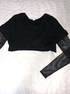 Cropped tee with mesh long sleeves