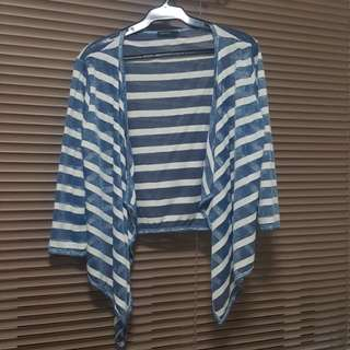 SM Woman Blue and White Striped Cardigan