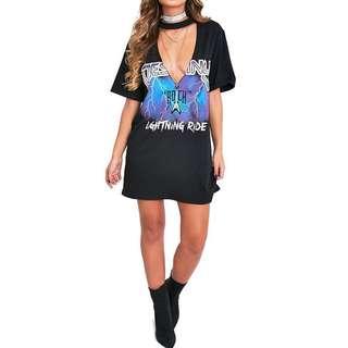 V Neck Choker Shirt Dress #20under