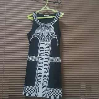 Folded and Hung Tribe Fitted Black Dress