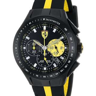 代購 法拉利 男士 比賽日 計時 44毫米 黑黃色 手錶