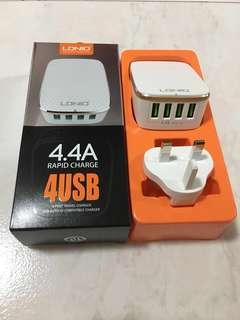 4 port USB plug 5V 4.4A Quick Charger