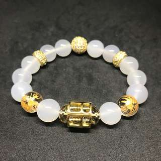 Gold Coated Stainless Steel Abacus and Crystal Ball Charm White Agate and Hand Crafted Dragon Gemstone Bracelet