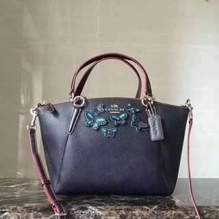COACH Authentic Pebble Leather with Butterfly Applique Handbag F59354