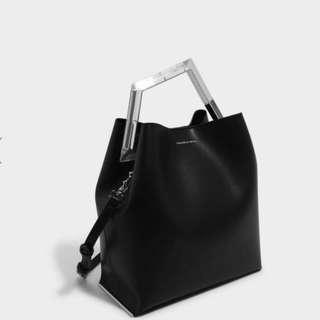 Geometric acrylic handle bag by charles and keith