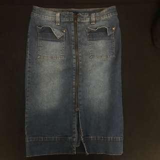 Denim Zip-up Skirt