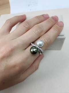 靚!黑白色珍珠銀戒指