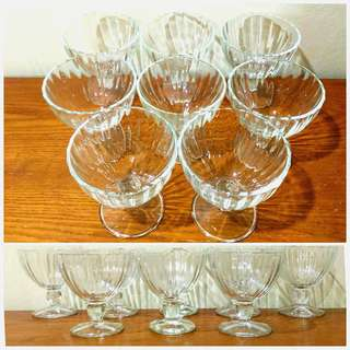 8x Footed Dessert Glass Cups