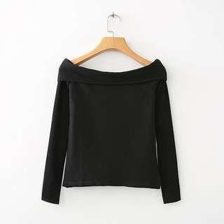 🚚 Zara 同款黑色一字領上衣