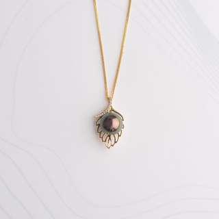 9-10mm Tahitian Cultured Pearl and Pendant in 18kYG