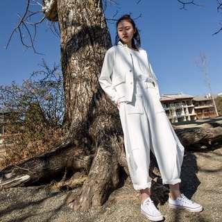 [U'NIDO]原創手作 日常隨心百搭哈倫褲 - 白色針織/ 天然純棉/ 時尚簡約/ 日常白搭 / 自在舒適/ 暖心禮物