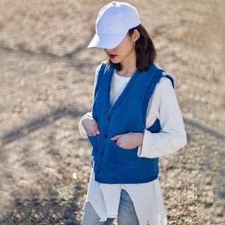 [U'NIDO]原創手作 日常隨心百搭短背心外套-手工藍染/ 天然亞麻/ 時尚簡約/ 日常白搭 / 自在舒適/ 暖心禮物