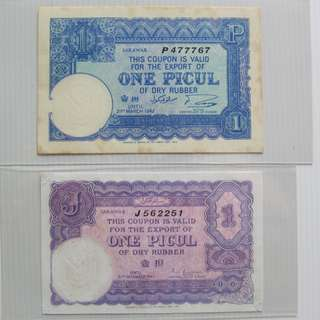 Rare 1941 and 1942 Sarawak one picul rubber coupons