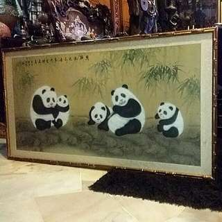 Chinese Vintage  Water Color Art  Panda  Comes Framed