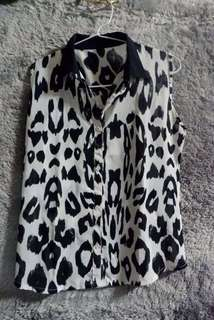 Kemeja Leopard/ kemeja hitam putih