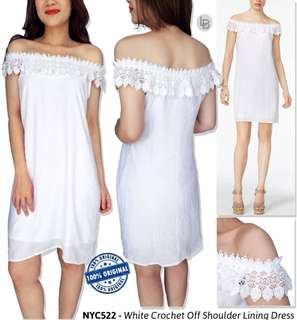 Nyc white crochet off shoulder lining dress